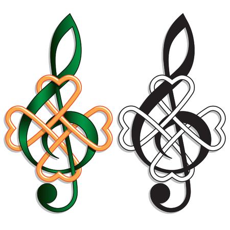 Chiave di violino Nodo celtico per la musica irlandese o il giorno di San Patrizio tema Archivio Fotografico - 51335308