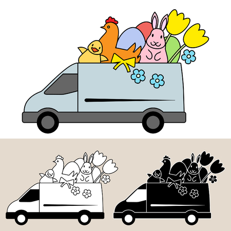 Van delivery of Easter eggs, flowers and gifts Ilustração