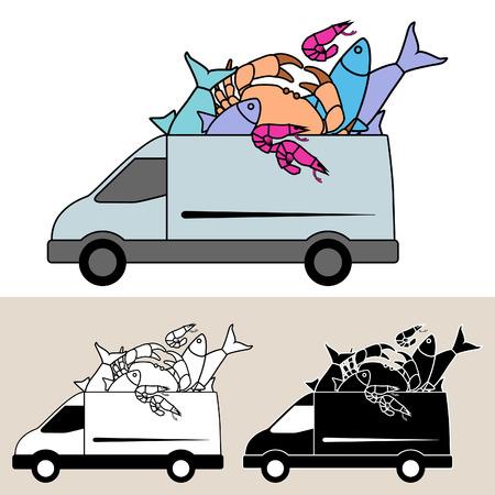 Van levering van verse vis en zeevruchten Stock Illustratie
