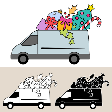Van delivery of Christmas gifts and decorations Ilustração