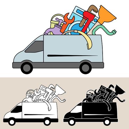 Van delivery of plumbing service, tools and materials Ilustração