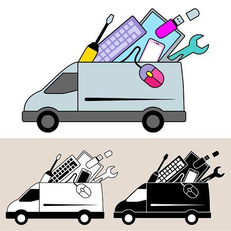 Van de levering van de computer reparatie service en apparatuur Stock Illustratie
