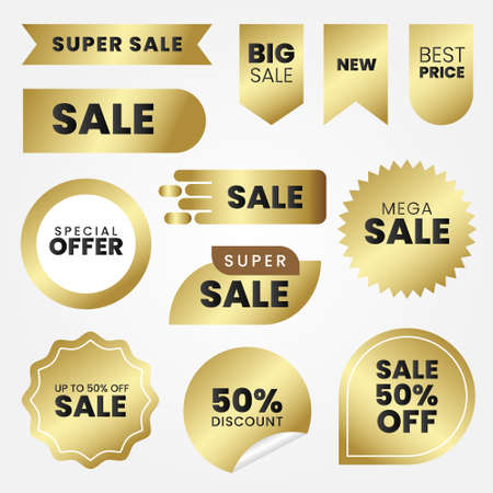 set of golden sale labels Vektorgrafik