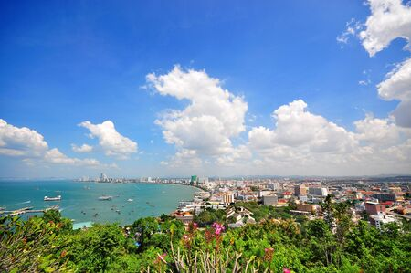 Pattaya város madártávlatból, Chonburi, Thaiföld Stock fotó