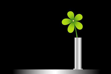 green flower on vase, illustration Stock Photo