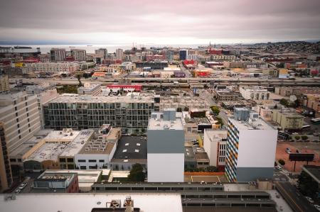 city sea bird eye view
