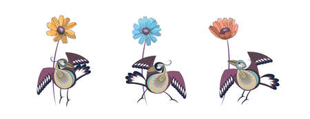 Three vector isolated  motley plumage birds with three yellow, blue and red flowers on white background.