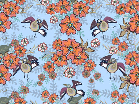 Art floral vector seamless pattern. Beautiful serious birds with orange and coral garden flowers on light blue sky background in Chinese style. Isolated elements.