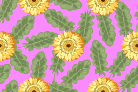 Floral vector seamless pattern. Retro-style 80. Yellow gerberas with green leaves on a pink background. Primitive style.