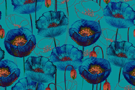 Art poppy seamless pattern. Gouache blue flowers and bright orange buds on a light blue background. Floral print for home textile, fabric and other. Hand-drown.