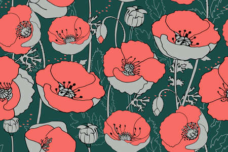 Vector floral seamless pattern. Art poppies. Coral flowers with gray shadow on dark green background. Used colors from the focal points of 2019: Forest Biome, Storm Gray, Living coral