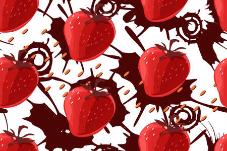 Vector seamless pattern. Strawberry and chocolate on white background. Red berries and chocolate splashes.