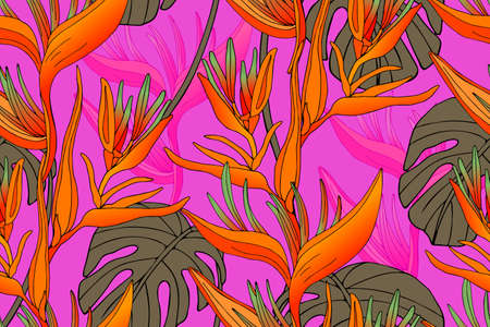 Vector seamless tropical pattern. Isolated tropical flowers and leaves on pink background. Floral print.