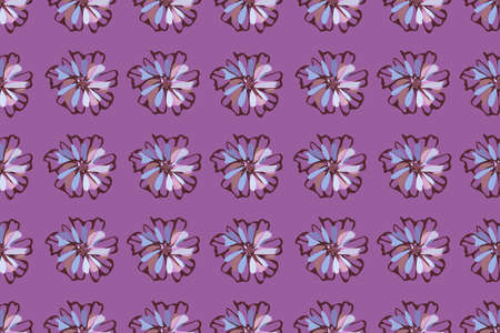Art floral vector seamless pattern. Light blue, brown, pink cornflowers and chicory on purple background. Isolated vector flowers for home textile, fabric, wallpaper, wrapping paper.