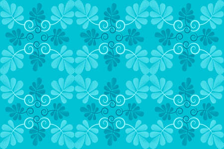 Clear structural vector seamless pattern. Geometric marine and light blue leaves with curls on marine background. Isolated elements. Distinct pattern. Illustration