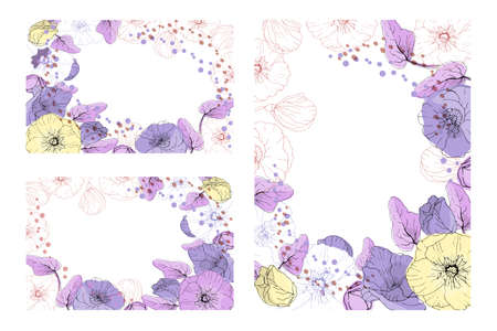 Art floral greeting card. Patterns with pastel pale purple and pale yellow mallow, purple and chocolate peas on a white background. Isolated vector flowers, buds and leaves. Иллюстрация