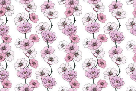 Vector seamless isolated naturalistic floral pattern. Pale pink camellias and gardenias with branches on white background. Illustration