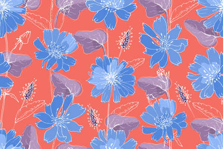 Art floral vector seamless pattern. Blue succory (chicory) with purple leaves on living coral color background. Isolated vector flowers, leaves and buds. Ilustracja