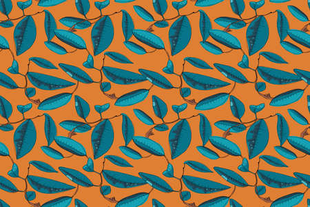 Art floral vector seamless pattern. Mandarin ( tangerines) blossom on the brown twigs with blue and green leaves. Vector isolated elements (flowers and leaves) on orange background.