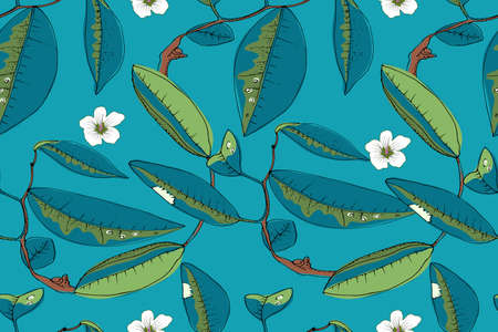 Art floral vector seamless pattern. Mandarin ( tangerines) blossom on the brown twigs with blue and green leaves. Vector isolated elements (flowers and leaves) on blue background. Illustration