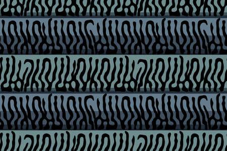 Mackerel scale. Vector seamless animal pattern. Black stripes skin of mackerel on blue and aqua background. Fish print.
