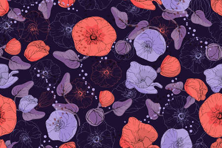 Art floral vector seamless pattern. Red and purple neon mallow and poppy on a deep purple background. Isolated vector garden flowers, buds, leaves, twigs, peas. For fabric, wallpaper, wrap, textile. Ilustracja
