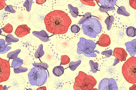 Art floral vector seamless pattern. Red and purple mallow and poppy on a pale yellow background. Isolated vector garden flowers, buds, leaves, twigs and peas. For fabric, wallpaper, wrap, textile. Ilustracja