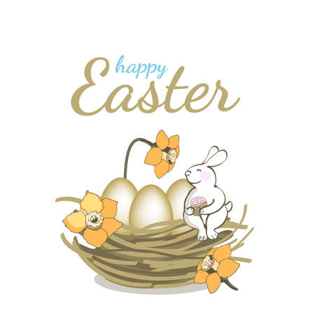 Happy Easter vector greeting card. Bunny sitting in the nest with eggs and yellow narcissus (daffodil) and holds in paws cake. Isolated elements on white background.