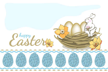 Happy Easter vector greeting card. Bunny sitting in the nest with eggs and yellow narcissus (daffodil) and holds in paws cake. Isolated elements on white background. Seamless border.