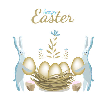 Happy Easter vector greeting card. Two bunnies put eggs in the nest . Isolated elements and flowers on white background.