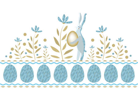 Happy Easter vector greeting card. Bunny holding egg. Isolated elements and flowers on white background. Seamless border.