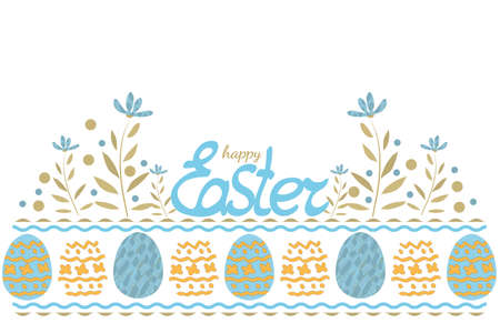 Happy Easter vector greeting card with eggs and flowers. Isolated elements on white background. Seamless border. Illustration