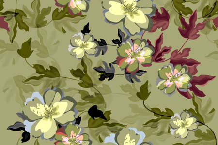 Art floral vector seamless pattern. Beautiful flowers and leaves on a olive background.