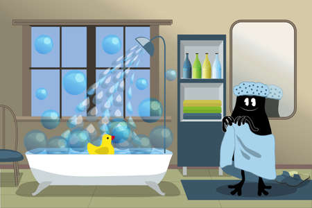 Happy cute little monster in blue towel and bathing cap is going to swim. In the bath floats a yellow duck and soap bubbles. Vector illustration for children.