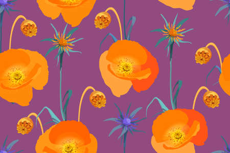 Art floral vector seamless pattern. Poppy flower. Orange poppies isolated on violet background. Hand-drown illustration.