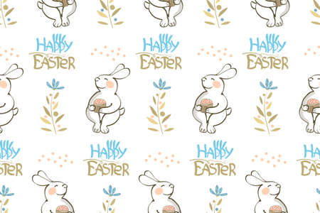 Easter vector seamless pattern. Bunny, lettering Happy Easter with Easter Bunny Ears and flowers isolated on white background.