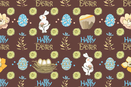 Easter vector seamless pattern. Bunny, lettering Happy Easter with Easter Bunny Ears, cake, eggs and flowers isolated on chocolate background. Illustration