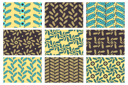 Set of vector seamless pattern. 9 floral chocolate, pale yellow and blue endless patterns with leaves.  For fabrics, wallpaper, home textiles, packaging, wrapping paper, gift packaging. Illustration