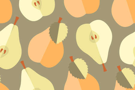 Art floral vector seamless pattern. Flat pears, trees, branches with mosaic leaves. Light yellow, peach, red, beige, violet, natural, grey, olive elements isolated on a olive background. Ripe fruit. 矢量图像
