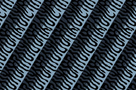 Relief mackerel scale. Vector seamless animal pattern. Black stripes skin of mackerel on dark blue and grey background. Fish print of stripes. For fabric, surface design, fish canned food. Ilustrace