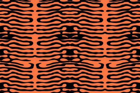 Animal print. Vector seamless pattern. Black stripes isolated on orange background. Ilustrace