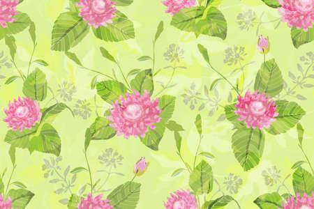 Nahtloses Muster des Kunstblumenvektors. Schöne vektorrosa Blumen mit grünen Stielen und Blättern auf einem hellgrünen Hintergrund.
