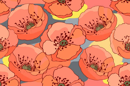Art floral vector seamless pattern.  Coral color poppies on abstract colorful background in pastel. Beautiful vector summer flowers. Ilustração