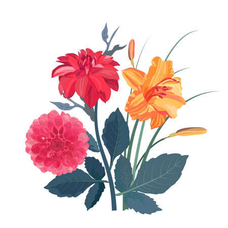 Vector set of summer garden flowers. Red dahlias and orange day-lily isolated on white background. Beautiful flowers with stems and leaves for cards, templates, banners, flyers, leaflets, booklets.