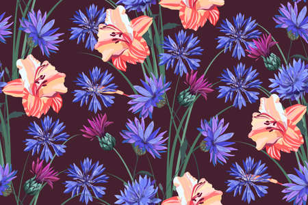 Art floral vector seamless pattern. Summer garden flowers. Peach lilies and blue cornflowers isolated on a chocolate background.