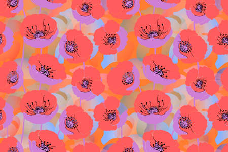 Seamless floral vector pattern with art poppy. Bright pink and scarlet orange isolated on white background. Prairie background field. 向量圖像