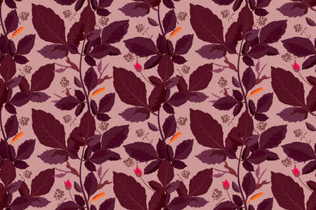 Art floral vector seamless pattern. Chocolate autumn leaves on a coffee color background. Isolated vector garden leaves with stems and buds.