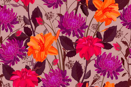 Art floral vector seamless pattern. Purple, orange, red lilies, asters, dahlias with buds, stems and leaves on a coffee color background. Isolated vector garden flowers.