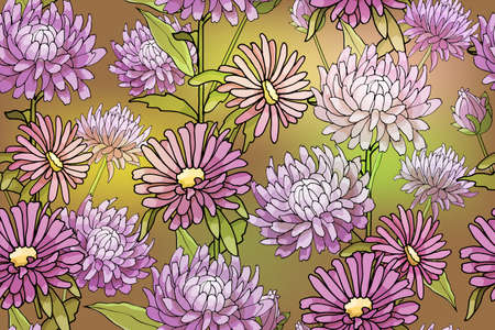 Art floral vector seamless pattern. Pastel pink and purple asters and chrysanthemum on light green blurred gradient background. Isolated vector garden flowers with stems and leaves.