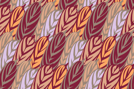 Art floral vector seamless pattern. Tropical burgundy, orange, silver and beige leaves. Simple graphic pattern. Vector isolated elements. For fabric, wrap, home textile and decor. Vettoriali